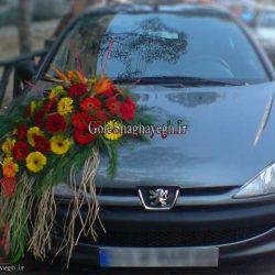 ماشین عروس با گل پرنده بهشتی