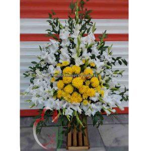 PT011-گل شقایق-سبدگل با گلایول و داودی