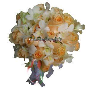 دسته گل عروس رز و ارکیده
