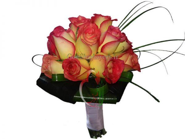 دسته گل عروس رز زرد و قرمز