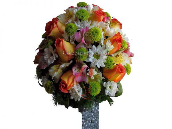 دسته گل عروس رنگارنگ