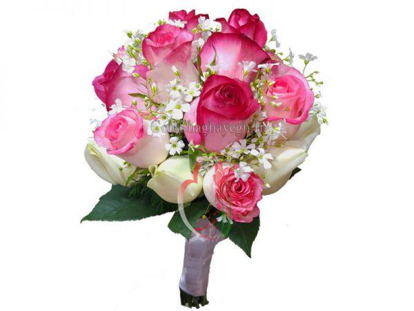 دسته گل عروس رز لب ماتیکی
