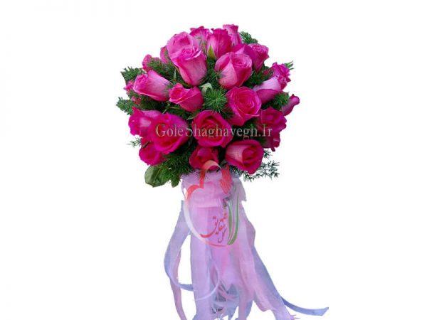 دسته گل عروس صورتی پررنگ