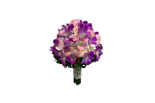 دسته گل عروس رز و ارکیده بنفش