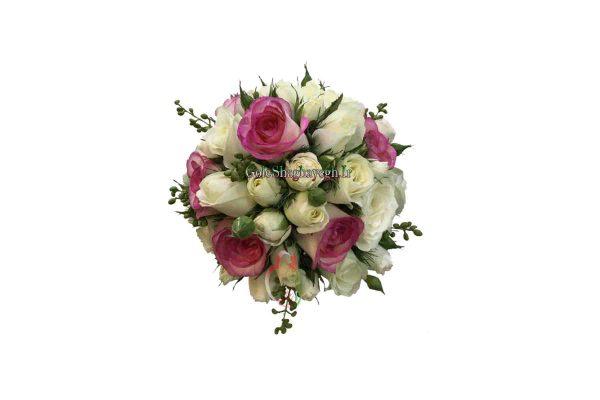 دسته گل عروس رز لب ماتیکی و سفید