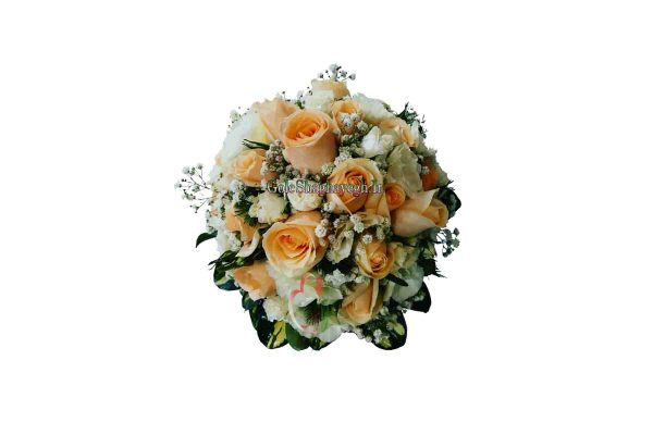 دسته گل عروس رز نارنجی و لیسین