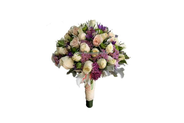 دسته گل عروس رز و داوودی