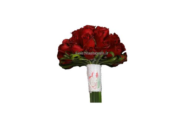 دسته گل عروس رز قرمز هلندی