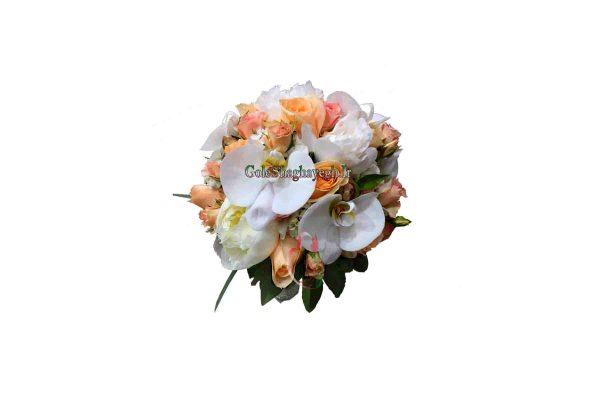 دسته گل عروس ارکیده و رزنارنجی
