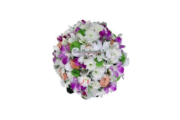 دسته گل عروس ارکیده سفید و بنفش