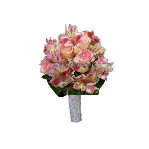 دسته گل عروس رز و آلسترومیا