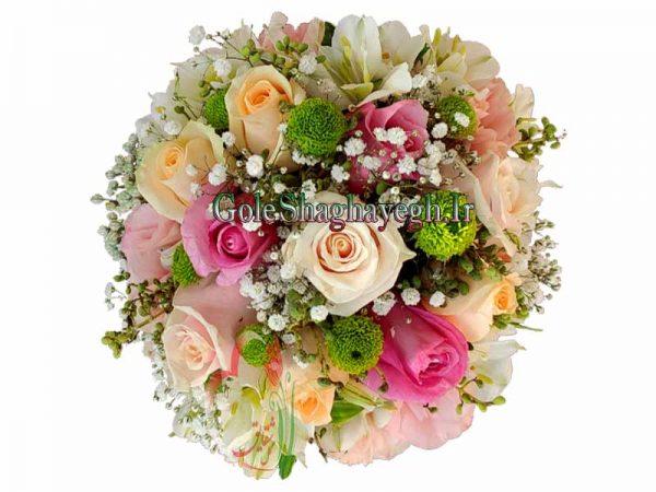 دسته گل عروس رز رنگی
