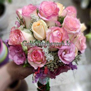 دسته گل عروس رز صورتی