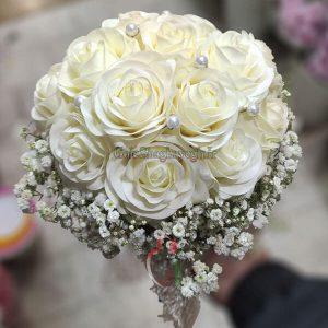 دسته گل عروس مصنوعی رز سفید