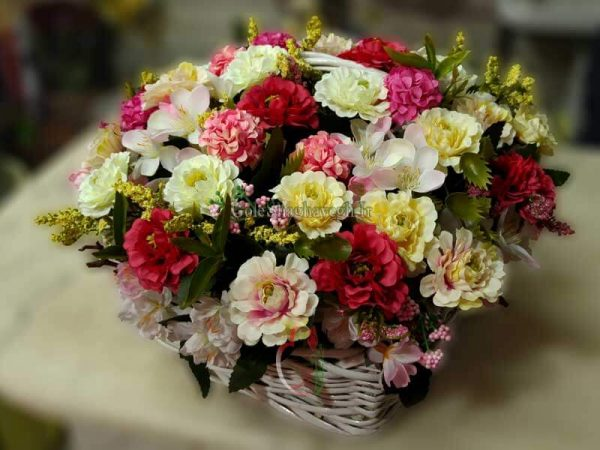 سبد گل مصنوعی شکوفه